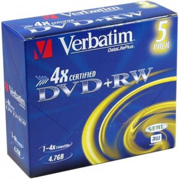VERBATIM DVD+RW 4.7 GO 4X (PAR 5, BOITE)