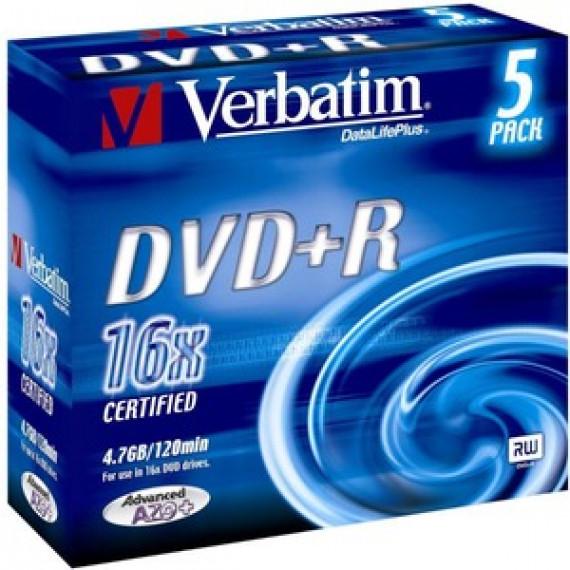 VERBATIM DVD+R 4.7 GO 16X (PAR 5, BOITE)