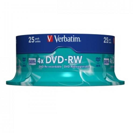 DVD Vierge VERBATIM DVD-RW 4.7 GO CERTIFIÉ 4X (PACK DE 25, SPINDLE)