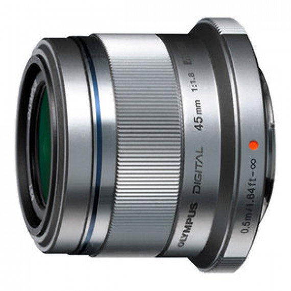 Objectif standard OLYMPUS M.ZUIKO DIGITAL 45MM 1:1.8 MONTURE MICRO FOUR THIRDS ARGENT