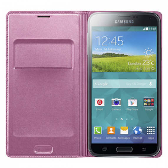 Etui portefeuille Samsung Flip Wallet Rose Galaxy S5 - pour Samsung Galaxy S5