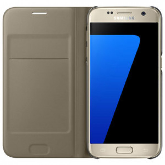 Etui portefeuille Samsung Flip Wallet Or Samsung Galaxy S7 - pour Samsung Galaxy S7