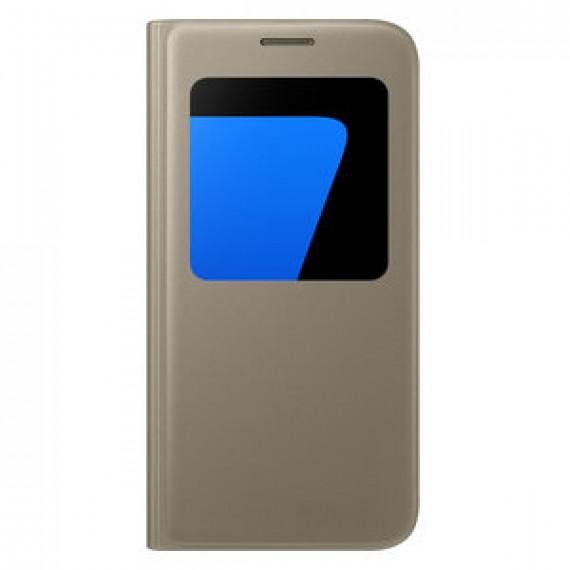Etui folio Samsung S-View Or Samsung Galaxy S7 - pour Samsung Galaxy S7