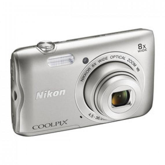 "Appareil photo Nikon Coolpix A300 - 20.1 MP - Zoom optique 8x - Vidéo HD - USB - Ecran ACL TFT 2.7"" - Wi-Fi - Bluetooth 4.1 Argent"