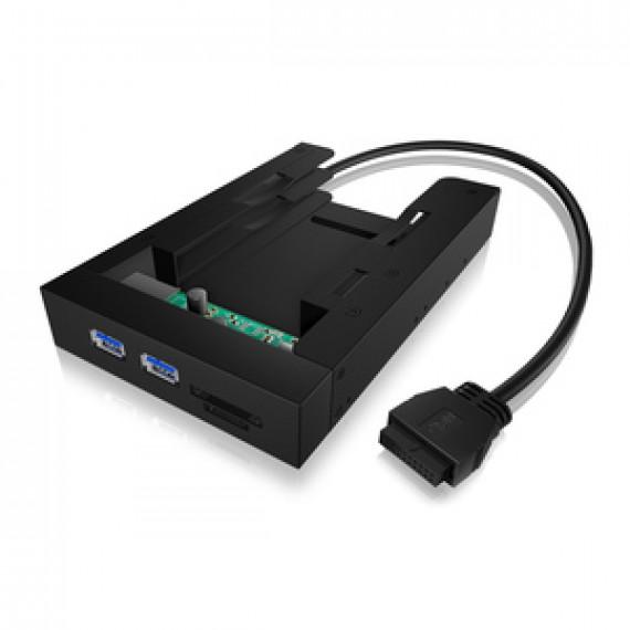 """Hub USB 3.0 ICY BOX IB-AC646 (2 ports) en façade dans baie 3.5'' avec emplacement pour 2 disques durs 2.5"""""""