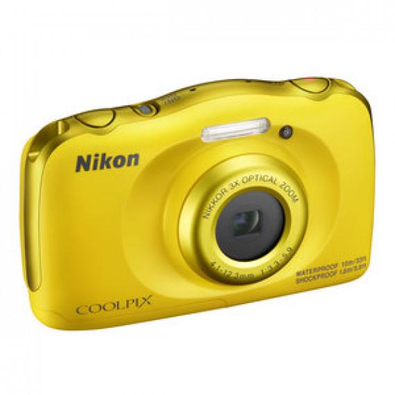 """Appareil photo 13.2 MP NIKON COOLPIX W100 JAUNE - Zoom optique 3x - Vidéo Full HD - USB - Ecran ACL TFT 2.7"""" - Wi-Fi/Bluetooth/NFC - Boîtier étanche"""