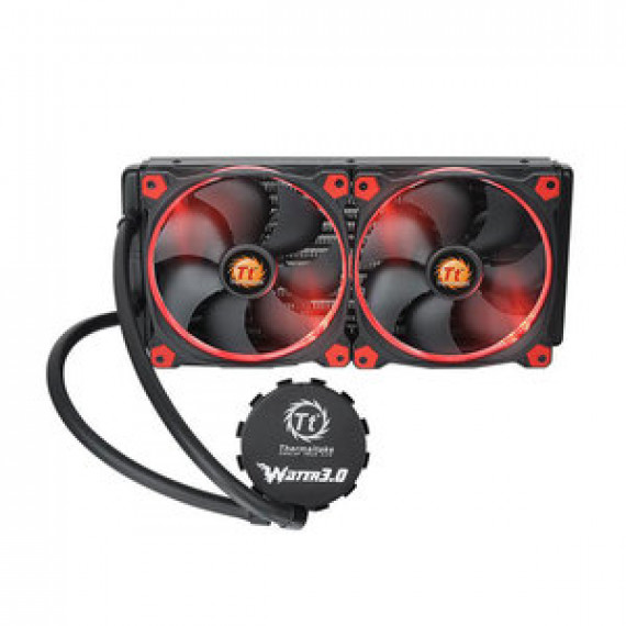Kit de Watercooling tout-en-un pour processeur THERMALTAKE WATER 3.0 RIING RED 280 avec 2 ventilateurs PWM 140 mm
