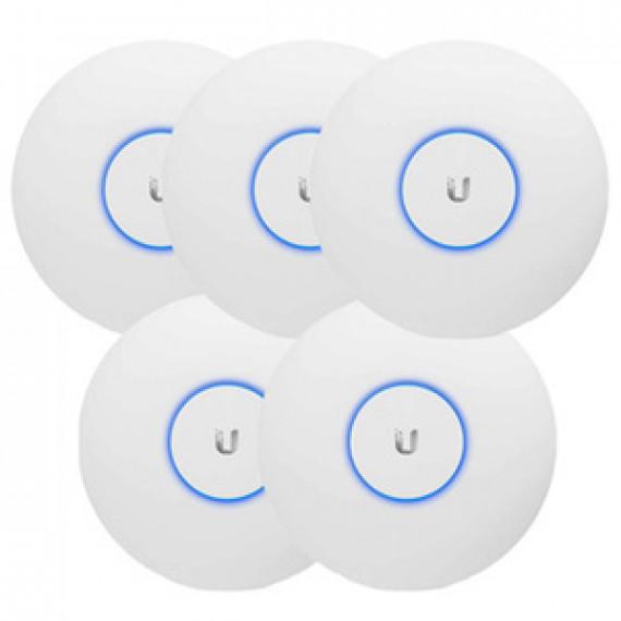 Pack de 5 points d'accès intérieur Ubiquiti Unifi UAP-AC-LR-5 - Wi-Fi MIMO A/B/G/N/AC PoE Dual Band 2.4 (450 Mbps) et 5 GHz (867 Mbps)