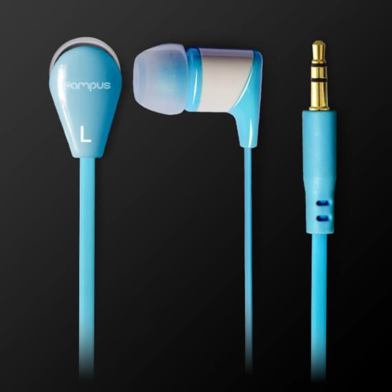 Ecouteurs audio ADVANCE Intra-auriculaires, pour smartphones/Tablettes/MP3/MP4/Consoles, mini jack 3,5mm, câble plat de 120cm, Bleu